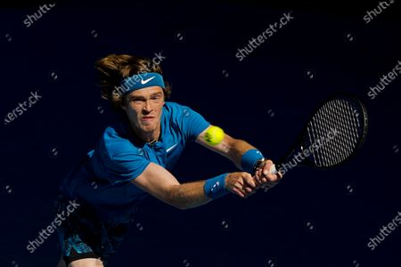 Andrey Rublev of Russia in action against Feliciano Lopez of Spain during their third round match at the Australian Open grand slam tennis tournament at Melbourne Park in Melbourne, Australia, 13 February 2021.