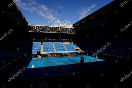 Empty stands are seen as Feliciano Lopez of Spain plays a shot during his third round men's singles match against Andrey Rublev of Russia at the Australian Open grand slam tennis tournament at Melbourne Park in Melbourne, Australia, 13 February 2021.