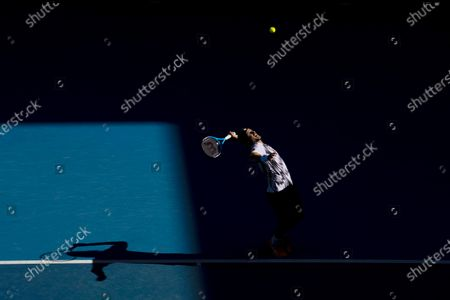 Feliciano Lopez of Spain serves during his third Round Men's singles match against Andrey Rublev of Russia at the Australian Open grand slam tennis tournament at Melbourne Park in Melbourne, Australia, 13 February 2021.