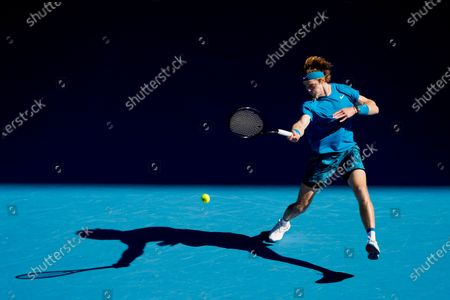 Andrey Rublev of Russia in action during his third Round Men's singles match against Feliciano Lopez of Spain at the Australian Open grand slam tennis tournament at Melbourne Park in Melbourne, Australia, 13 February 2021.