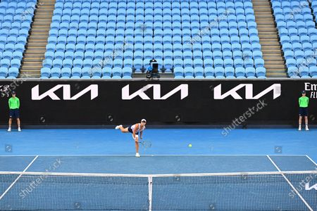 Ashleigh Barty of Australia in action during her women's singles third round match against Ekaterina Alexandrova of Russia at the Australian Open Grand Slam tennis tournament in an empty Margaret Court Arena at Melbourne Park in Melbourne, Australia, 13 February 2021.