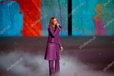 Stock Picture of French singer Vanessa Paradis performs on stage during the 36th Victoires de la Musique, the annual French music awards ceremony, at the Seine Musicale concert hall in Boulogne-Billancourt, on the outskirts of Paris