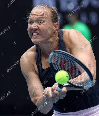 Estonia's Kaia Kanepi Croatia's hits a backhand to Donna Vekic during their match at the Australian Open tennis championships in Melbourne, Australia