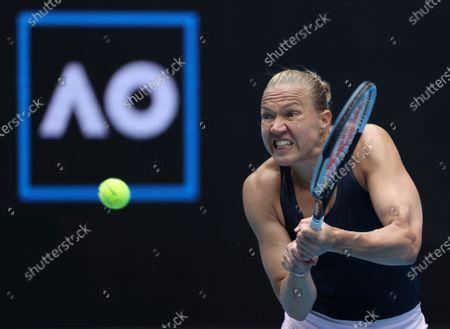 Estonia's Kaia Kanepi hits a backhand to Croatia's Donna Vekic during their match at the Australian Open tennis championships in Melbourne, Australia