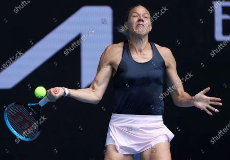 Estonia's Kaia Kanepi hits a forehand to Croatia's Donna Vekic during their match at the Australian Open tennis championships in Melbourne, Australia