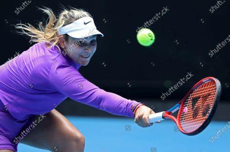 Croatia's Donna Vekic reaches for a backhand to Estonia's Kaia Kanepi during their match at the Australian Open tennis championships in Melbourne, Australia