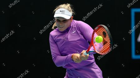 Stock Picture of Croatia's Donna Vekic hits a backhand return to Estonia's Kaia Kanepi during their third round match at the Australian Open tennis championship in Melbourne, Australia