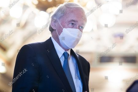 Sen. Ed Markey, D-Mass., talks with reporters in the U.S. Capitol during a break in the impeachment trial of former President Donald Trump in Washington, DC, on Friday, February 12, 2021.   Pool photo by Tom Williams/UPI