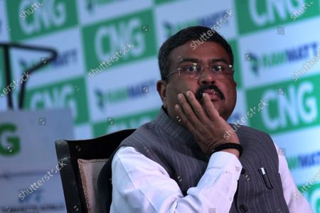 Dharmendra Pradhan, Petroleum and Natural Gas Minister, seen during the launch of India's first-ever diesel tractor, converted to Compressed Natural Gas(CNG) variant, in New Delhi, India on February 12, 2021.  (Photo by Mayank Makhija/NurPhoto)