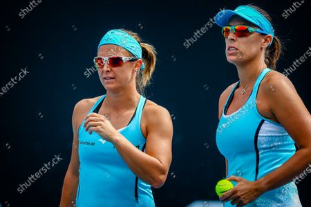 Stock Photo of Kirsten Flipkens (WTA 32), Andreja Klepac (WTA 40) during a tennis match between Belgian-Slovenian pair Flipkens-Klepac and Spanish-Italian pair Bolsova-Paolini, in the second round of the women's doubles competition of the 'Australian Open' tennis Grand Slam, Saturday 13 February 2021 in Melbourne Park, Melbourne, Australia.