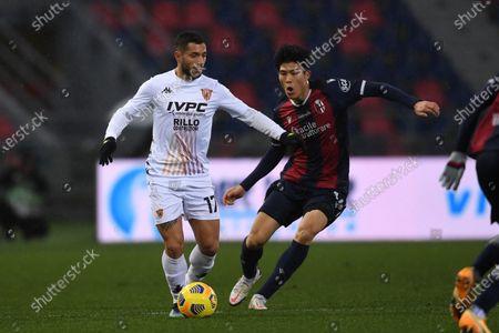 """Gianluca Caprari (Benevento)Takehiro Tomiyasu (Bologna)        during the Italian """"Serie A"""" match between Bologna 1-1 Benevento  at  Renato Dall Ara Stadium in Bologna, Italy."""