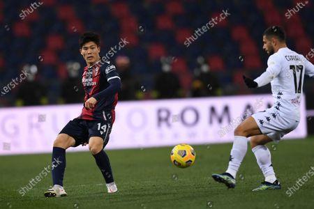 """Takehiro Tomiyasu (Bologna)Gianluca Caprari (Benevento)        during the Italian """"Serie A"""" match between Bologna 1-1 Benevento  at  Renato Dall Ara Stadium in Bologna, Italy."""