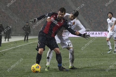 "Andrea Poli (Bologna)Fabio Depaoli (Benevento)         during the Italian ""Serie A"" match between Bologna 1-1 Benevento  at  Renato Dall Ara Stadium in Bologna, Italy."