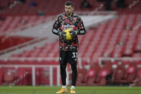 Matt Ryan of Arsenal during the pre match warm up prior to the Premier League match between Arsenal and Leeds United at the Emirates Stadium in London - 14th February 2021
