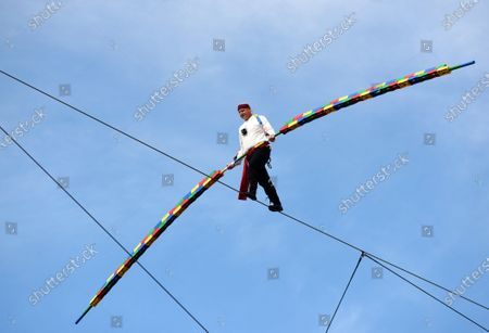 Editorial photo of Daredevil Nik Wallenda performs high wire walk at LEGOLAND Florida, Winter Haven, USA - 12 Feb 2021