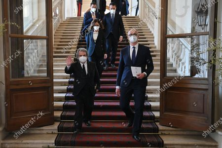 Italian Minister of Public Administration Renato Brunetta (L), Italian Minister for Autonomies Maria Stella Gelmini (C) and Italian Relations with Parliament Minister Federico D'Inca' (R) leave the Quirinal Palace following the new government's swearing-in ceremony, in Rome, Italy, 13 February 2021.
