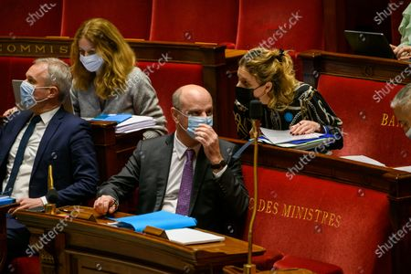 Stock Image of Francois de Rugy and French Education, Youth and Sports Minister Jean-Michel Blanquer.