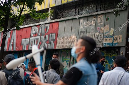 Stock Photo of Demonstrators practice juggling as students from the Universidad Pedagogica in Bogota, demonstrate for the adquisition of a free tuition to its students after the novel Coronavirus pandemic caused an economic recession, in Bogota, Colombia on February 12, 2020.