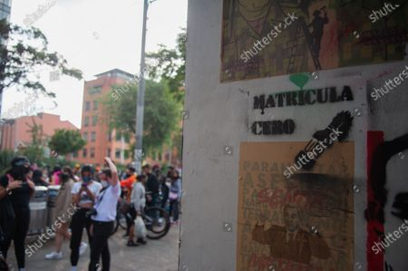 Zero Tuition banners and stencil graffities placed by students from the Universidad Pedagogica in Bogota, demonstrate for the adquisition of a free tuition to its students after the novel Coronavirus pandemic caused an economic recession, in Bogota, Colombia on February 12, 2020.