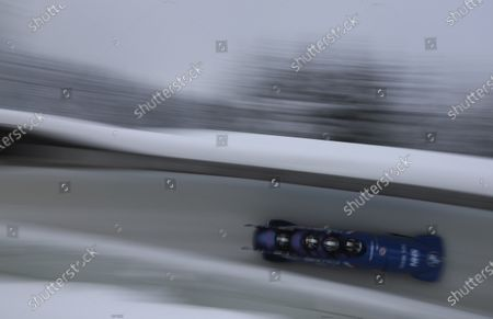 Team Brad Hall, Lawrence Taylor, Nick Gleeson and Luke Dawes of Great Britain speed down the run during the four-man bobsled race at the Bobsleigh and Skeleton World Championships in Altenberg, Germany, Saturday, Feb.13, 2021
