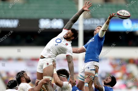 England vs Italy. England's Courtney Lawes and Johan Meyer of Italy