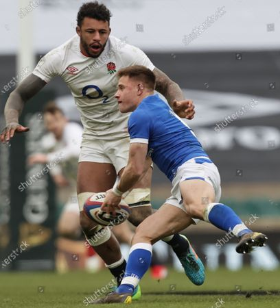 England vs Italy. England's Courtney Lawes and Stephen Varney of Italy