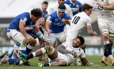 England vs Italy. England's Courtney Lawes and George Ford