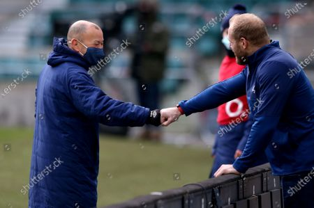 England vs Italy. England Head Coach Eddie Jones and former England player James Haskell