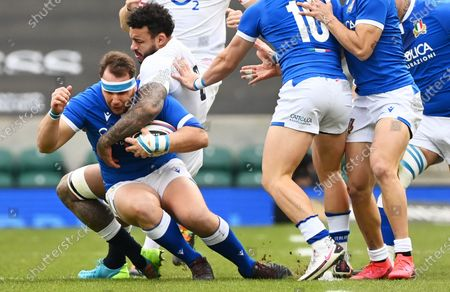 Andrea Lovotti (L) of Italy in action against Courtney Lawes of England during the Rugby Six Nations match between England and Italy in Twickenham, Britain, 13 February 2021.
