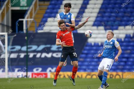 Luton Town's James Collins BIRMINGHAM CITY'S George Friend* during the EFL Sky Bet Championship match between Birmingham City and Luton Town at the Trillion Trophy Stadium, Birmingham