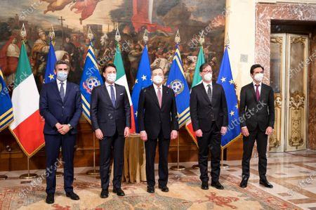 RICCARDO FRACCARO, GIUSEPPE CONTE, MARIO DRAGHI, ROBERTO GAROFOLI, ROBERTO CHIEPPA during the Oath Ceremony of the Mario Draghi's government, Rome, Italy 13 Feb 2021