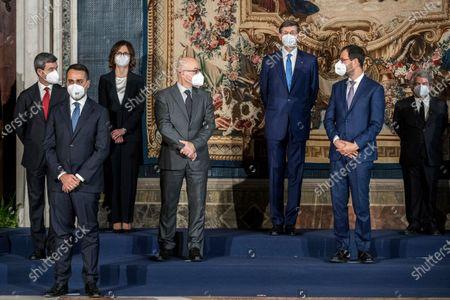 Andrea Orlando, Luigi Di Maio, Maria Stella Gelmini, Roberto Cingolani, Vittorio Colao, Stefano Patuanelli, Renato Brunetta during the Oath Ceremony of the Mario Draghi's government, Rome, Italy 13 Feb 2021