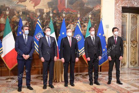 Stock Picture of RICCARDO FRACCARO, GIUSEPPE CONTE, MARIO DRAGHI, ROBERTO GAROFOLI, ROBERTO CHIEPPA during the Oath Ceremony of the Mario Draghi's government, Rome, Italy 13 Feb 2021