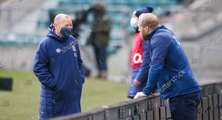 England Head Coach Eddie Jones chats with James Haskell pre-match