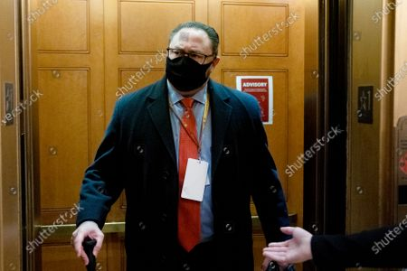 Jason Miller, former senior advisor to 2020 Trump campaign, arrives at the Capitol on the fifth day of the second impeachment trial of former President Donald Trump, in Washington