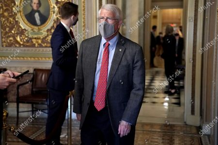 Sen. Roger Wicker (R-Miss.) is seen in the Senate Reception room as the Senate takes a short recess during the fifth day of the impeachment trial of former President Trump in Washington, DC, USA, 13 February 2021.  The Senate passed a motion to subpoena witnesses in the Senate impeachment trial of former US president Trump, on the charge of incitement of insurrection for his role in 06 January violent attack on the US Capitol.