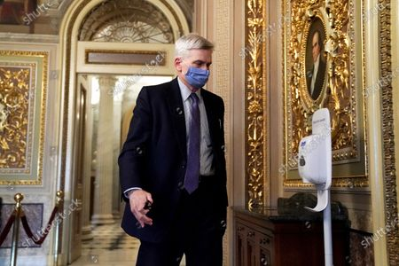 Sen. Bill Cassidy (R-La.) is seen in the Senate Reception Room during the fifth day of the impeachment trial of former President Trump in Washington, DC, USA, 13 February 2021. The US Senate on 13 February 2021 voted to acquit former US president Trump in his impeachment trial held on the charge of incitement of insurrection for his role in 06 January violent attack on the US Capitol.