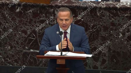 In this image from video, House impeachment manager Rep. David Cicilline, D-R.I., speaks during closing arguments in the second impeachment trial of former President Donald Trump in the Senate at the U.S. Capitol in Washington