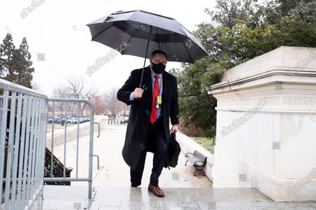 Jason Miller, advisor to former US president Trump, arrives on the fifth day of the second impeachment trial of US president Trump in the Senate, at the Capitol in Washington, DC, USA, 13 February 2021. The Senate will decide whether to supboena witnesses and could possibly reach a verdict on the fifth day of the Senate impeachment trial of former US president Trump, on the charge of incitement of insurrection for his role in 06 January violent attack on the US Capitol.