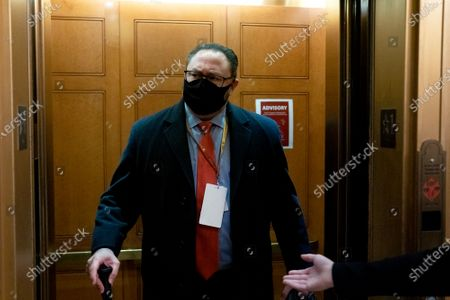 Jason Miller, former senior advisor to 2020 Trump campaign, wears a protective mask while arriving on the fifth day of the impeachment trial of former US president Trump at the US Capitol, in Washington, DC, USA, 13 February 2021. The Senate passed a motion to subpoena witnesses in the Senate impeachment trial of former US president Trump, on the charge of incitement of insurrection for his role in 06 January violent attack on the US Capitol.