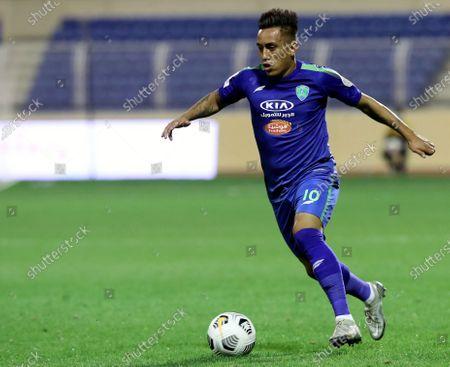 Al-Fateh's player Christian Cueva in action during the Saudi Professional League soccer match between Al-Fateh and Al-Ain at Prince Abdullah bin Jalawi Stadium, in Al-Hasa, Saudi Arabia, 13 February 2021.