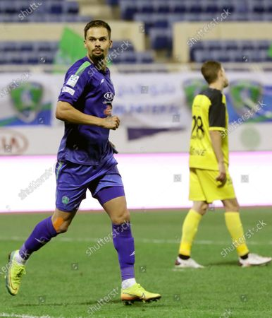Al-Fateh's player Mitchell Te Vrede celebrates after scoring a goal during the Saudi Professional League soccer match between Al-Fateh and Al-Ain at Prince Abdullah bin Jalawi Stadium, in Al-Hasa, Saudi Arabia, 13 February 2021.