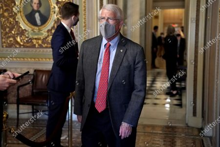 Sen. Roger Wicker (R-Miss.) is seen in the Senate Reception room as the Senate takes a short recess on the fifth day of the impeachment trial of former President Donald Trump.