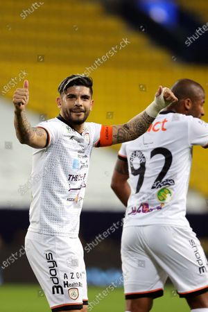 Al-Shabab's player Ever Banega (L) celebrates after scoring a goal during the Saudi Professional League soccer match between Al-Nassr and Al-Shabab at King Saud University Stadium, in Riyadh, Saudi Arabia, 13 February 2021.