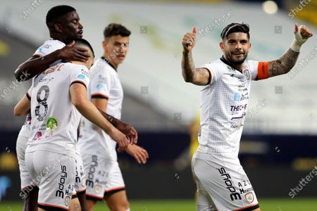Al-Shabab's player Ever Banega (R) celebrates after scoring a goal during the Saudi Professional League soccer match between Al-Nassr and Al-Shabab at King Saud University Stadium, in Riyadh, Saudi Arabia, 13 February 2021.