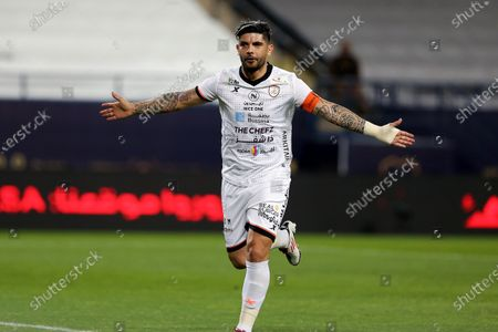Al-Shabab's player Ever Banega celebrates after scoring a goal during the Saudi Professional League soccer match between Al-Nassr and Al-Shabab at King Saud University Stadium, in Riyadh, Saudi Arabia, 13 February 2021.
