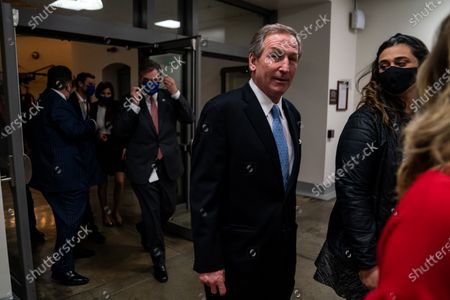 Michael van der Veen, defense attorney for Donald Trump, walks to the Senate Subway at the U.S. Capitol Building on Saturday, Feb. 13, 2021 in Washington, DC. By a vote of 57 to 43, the Senate acquitted former President Donald Trump. (Kent Nishimura / Los Angeles Times)
