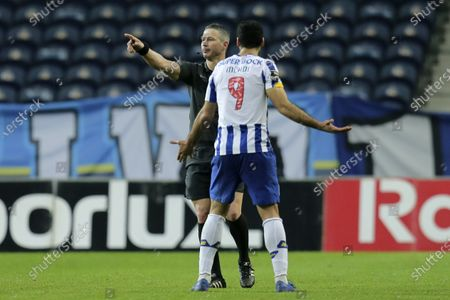 The referee Manuel Mota cancels FC Porto third goal during the Portuguese First League soccer match with Boavista, held at Dragão stadium in Porto, Portugal, 13 February 2021.