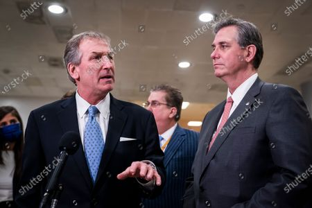 Defense attorneys Bruce Castor (R) and Michael van der Veen (L) speak to the media after the conclusion of the second impeachment trial of former US President Donald J. Trump in Washington, DC, USA, 13 February 2021. The US Senate on 13 February 2021 voted to acquit former US president Trump in his impeachment trial held on the charge of incitement of insurrection for his role in 06 January violent attack on the US Capitol.