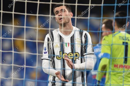 Alvaro Morata of Juventus FC looks Dejected during the Serie A match between SSC Napoli and Juventus FC